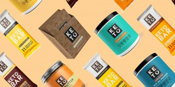 Various perfect keto products in yellow background