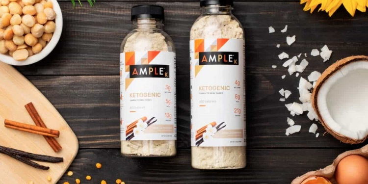 Ample k keto meal replacement bottles in a table