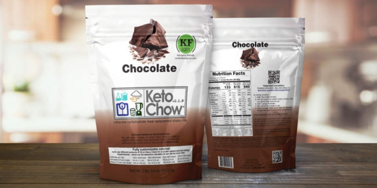 Keto chow meal replacement chocolate flavor package