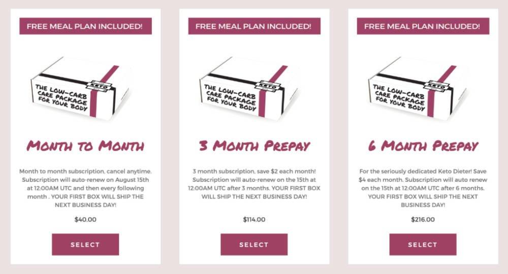 keto box subscription options