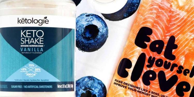 keto shake vanilla bottle lying next to a magazine