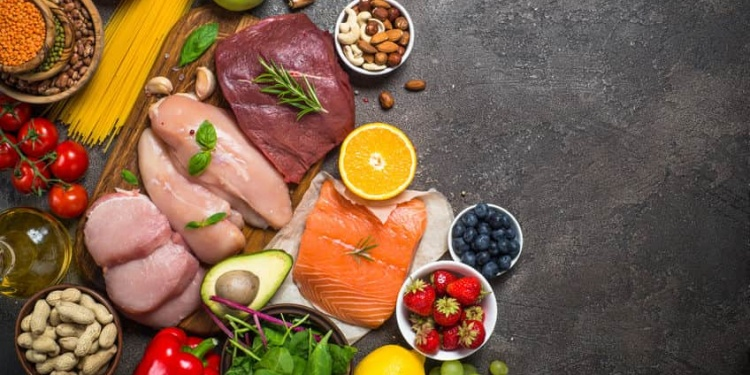 meats, veggies, nuts, pastas and fruits