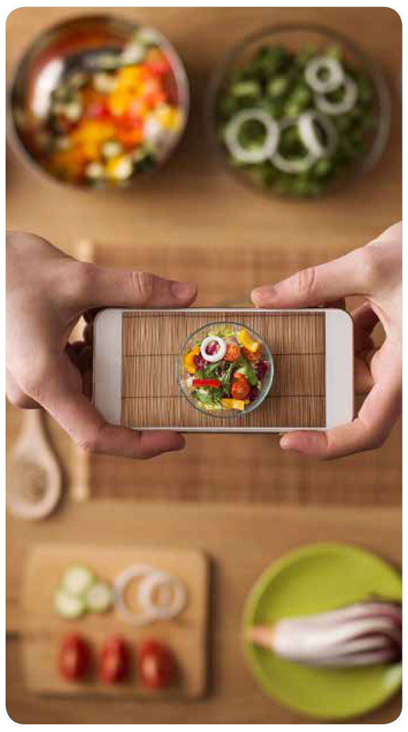 taking photos of a meal