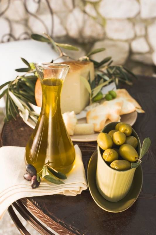 Olive oil in a glass jug